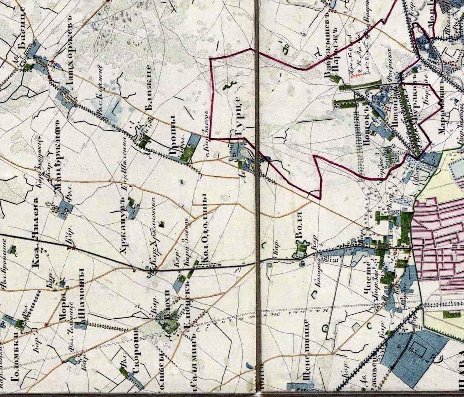 okolice Babic na mapie z 1838 roku